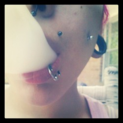 krystalkleartxds:  When I #smokealone I get #bored. #smoke #weed #girlswhosmokeweed #stayhigh #piercings (Taken with instagram)