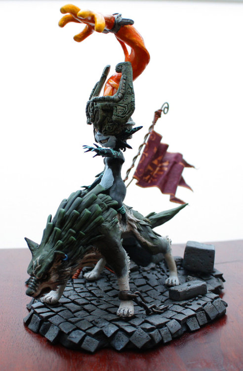 Midna on Wolf Link Sculpture WIP by ~LONGELF