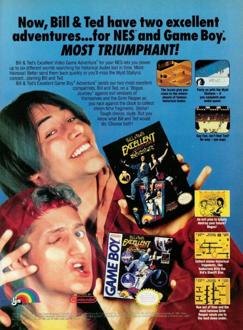 Ad for the Bill & Ted's Excellent Video Game Adventure NES and Game Boy games.
