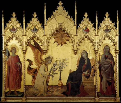 Simone MARTINI and Lippo MEMMIAnnunciation with St. Margaret and St. Ansanus / L'Annunciazione tra i santi Ansano e Margherita 1333 tempera and gold on panel Galleria degli Uffizi, Florence