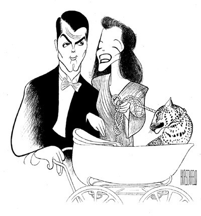 howardhawkshollywood:  Bringing Up Baby by Al Hirschfeld