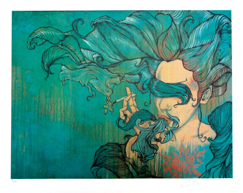 As much as I love Brandon Boyd and his music, and the art he finds influential, I'm not that big a fan of his paintings. This one, though, I like very much. It's probably my favorite of his works, so I couldn't resist ordering one of the prints that have just gone up for sale. I'm considering it an investment, but between this, the meet & greet in May, and the plane ticket to get there, I'm going to end up in debtor's prison. I wonder if, in this day and age, I'll have access to Tumblr in there.