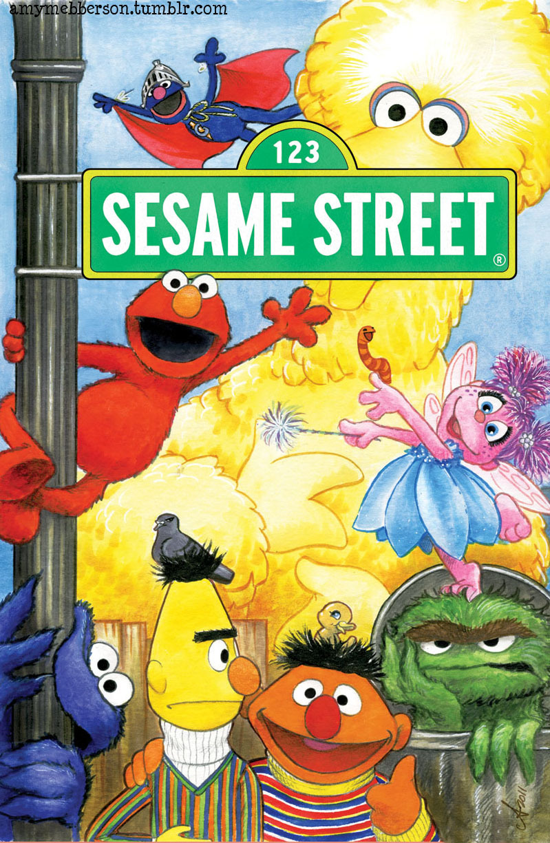 Sesame Street comic!! - coming ROUGHLY in December from APE comics! James Silvani and I will be two of the artists working on this. This is my original version of this cover. I had to end up moving Elmo back into Big Bird's arms because it was considered dangerous to show Elmo hanging off a lamp post. Spoilsports ;p