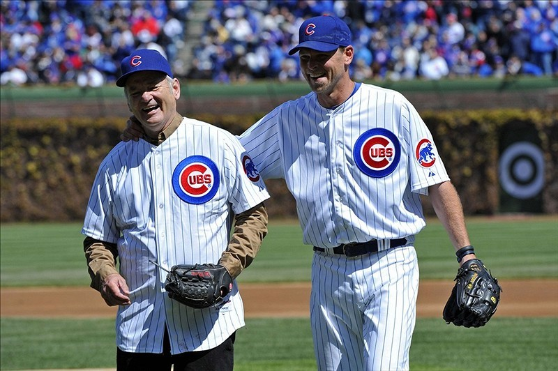 Bill Murray and Kerry Wood hanging out before the Cubs' season opener.