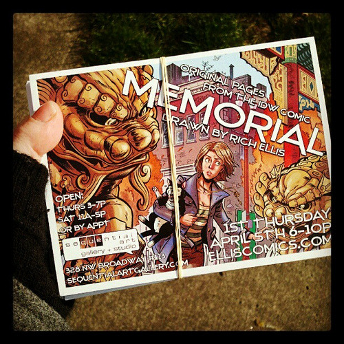 """MEMORIAL"" - Art by Rich Ellis » Opens TONIGHT! 6-10pm at Sequential Art Gallery. (card design by merrick_monroe)"
