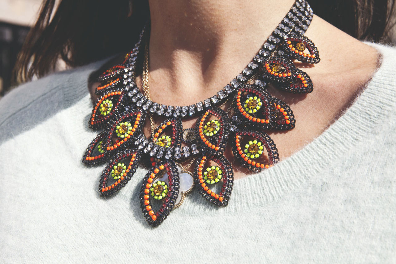 It's all about the statement accessories this season. Necklace from MR. DANNIJO Volume II. Source: manrepeller.