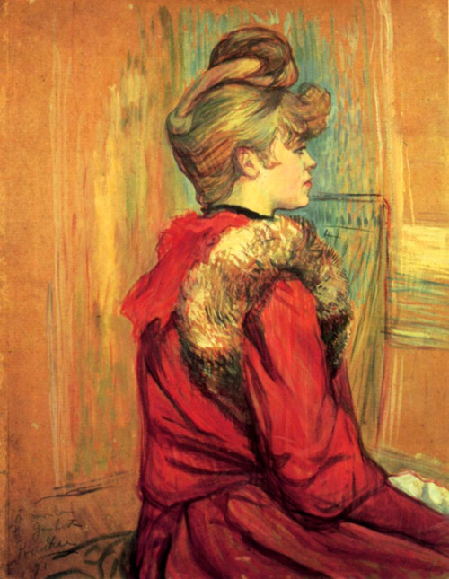 Girl In A Fur Mademoiselle Jeanne Fontaine by Henri De Toulouse-Lautrec Love her crazy french twist/big bun/fluffy fringe/sideburn hairs!!