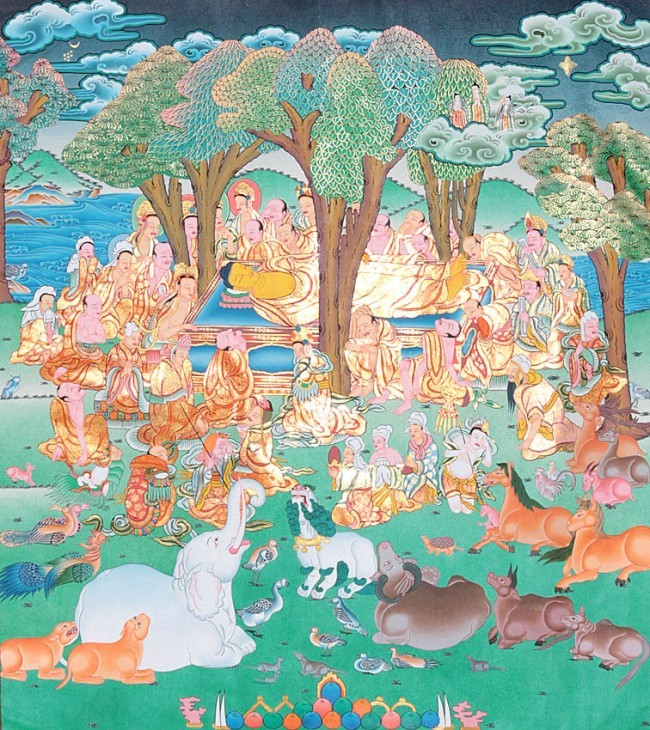 In Buddhism, parinirvana (Sanskrit: परिनिर्वाण parinirvāṇa; Pali: परिनिब्बान parinibbāna; Chinese: 般涅槃, bō niè pán) is the final nirvana, which occurs upon the death of the body of someone who has attained complete awakening (bodhi). It implies a release from the bhavachakra, Saṃsāra, karma andrebirth as well as the dissolution of the skandhas.