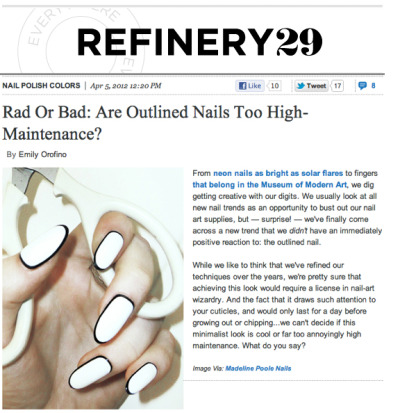 Our nail genius, Madeline Poole, shows off her customized outlined Mani for Refinery 29!