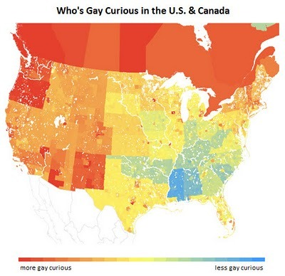 "knowhomo:  LBGTQ* Maps and Charts OkCupid's Chart of ""Gay Curious USA & Canada""  **OkCupid.com is a free online dating/meeting site. It recognizes sexuality as ""gay/lesbian/bi/straight"" and gender as ""male/female."" It can be assumed that the data from the map above was collected from the series of survey questions members of the website fill out in order to find a more compatible match. Graph from 2011.  Canada you rock"