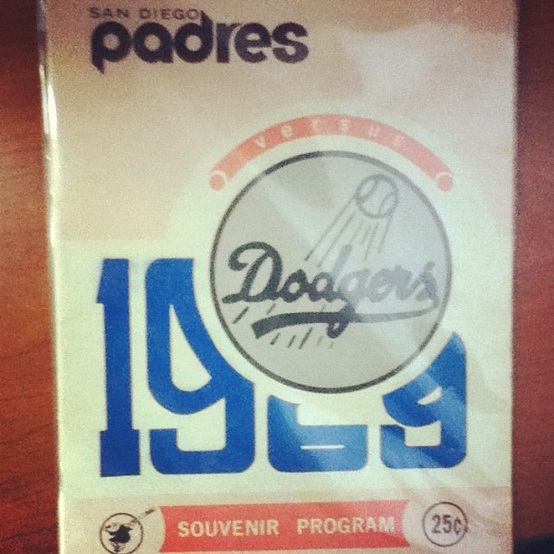 Dodgers vs padres booklet from 1969. Opening game today #gododgers (Taken with instagram)