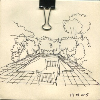 """the sketch series"" a bed by the pool 2005"