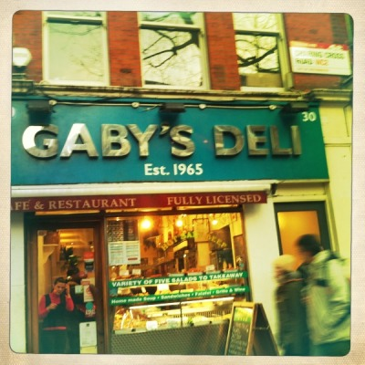 Gaby's Deli brought falafel to Britain and is a wonderful beacon of individuality in the centre of London. Sign the petition/like the facebook page to make sure it doesn't get turned into a chain. This may actually make a difference because Gaby just needs to let the evil Marquess of Salisbury that people want it to stay put. Forget about Kony, GABY 2012.  http://www.gopetition.com/petitions/save-gaby-s-deli-charing-cross-road-london.html