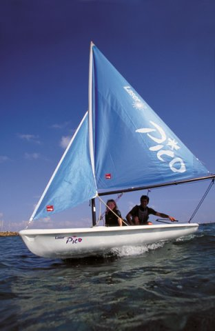 This is a Laser Pico. Its a Dinghy, and ain't it cute?! I remember, 4 years ago, at the age of 11, my first ever experience with sailing was in one of these. I didn't enjoy it, and soon fell in, but with much determination, I succeeded, and now I am even aiming to qualify as an instructor, 4 years later. How time flies ;)