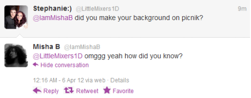 lol misha b tweeting me
