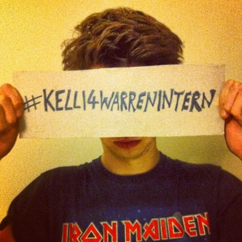 He's joined the cause, have you? #kelli4warrenintern    I'm also tackling instagram! I'm using the tag #Kelli4warrenintern as always and posting pictures out and about with my trusty homemade sign. Sadly, the cat refused to join the cause.