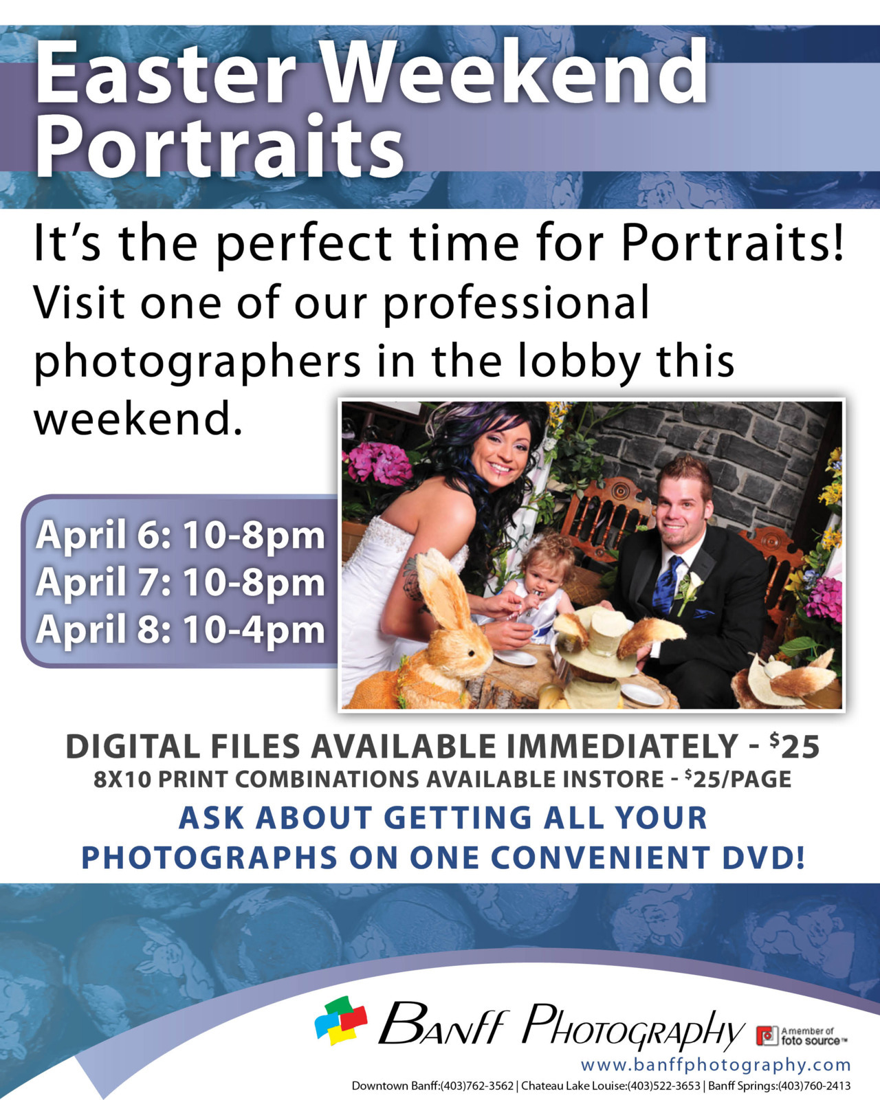 We are doing EASTER PORTRAITS in the Lobby at the Banff Springs Hotel all weekend long! Come have some photo's taken in our lovely Easter set. http://www.banffphotography.com