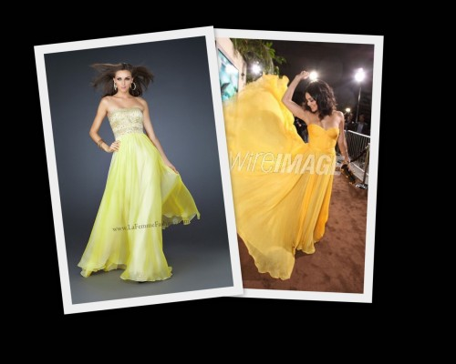 Don't blend in, stand out in yellow just like Vanessa Hudgens with La Femme style 17657!