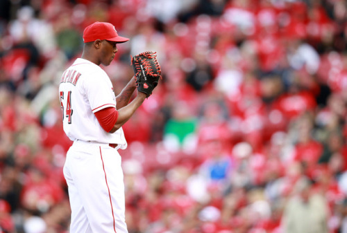 Aroldis Chapman #54 of the Cincinnati Reds prepares to throw a pitch during the game against the Miami Marlins on Opening Day at Great American Ball Park on April 5, 2012 in Cincinnati, Ohio. (Photo by Andy Lyons/Getty Images)