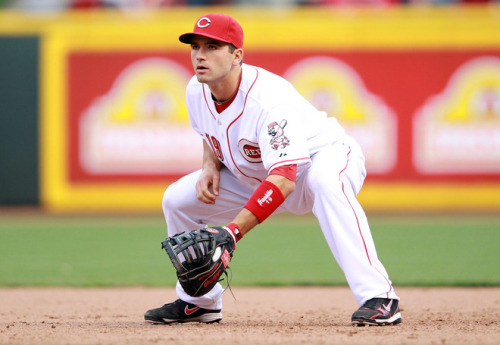 Joey Votto #19 of the Cincinnati Reds plays the field during the game against the Miami Marlins on Opening Day at Great American Ball Park on April 5, 2012 in Cincinnati, Ohio. Photo by Andy Lyons/Getty Images