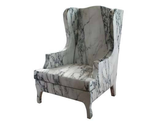 You deserve to be crowned. THIS IS SPARTA: a Louis XV armchair covered with a digitally reproduced motif of Carrara marble. Go on, be entertained. -gen