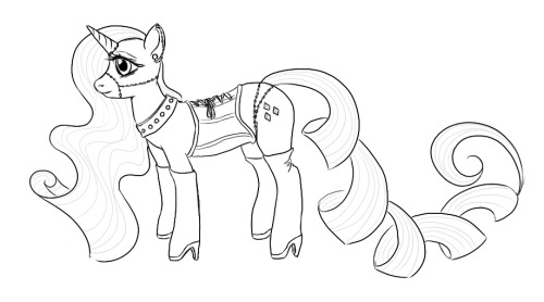 More pony fashion, featuring Rarity. Dunno if I'll color this yet. I really really like horn jewelry (as featured in my picture here). Not feeling so hot about those heels, though.