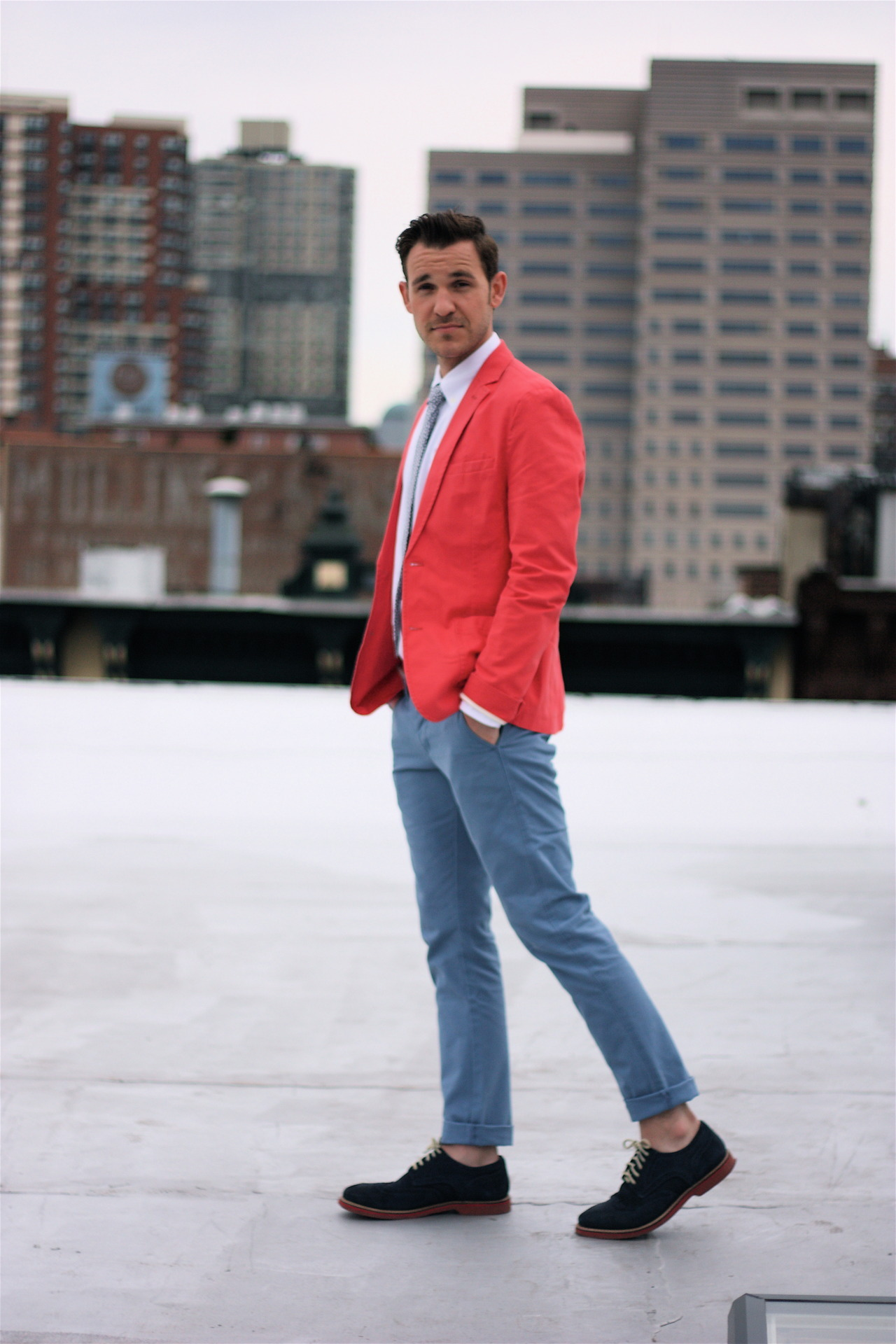 "The Bright Colored Blazer - Take 2 Another outfit with this salmon colored blazer. Last time we paired it with muted earth tones and this time we matched bright with bright. Almost like an ""Easter"" version of red, white, and blue. Since the colors are all bold, we kept the patterns simple - all solids with just a small floral print in the tie. Happy Passover, Good Friday, Easter, and Zombie Jesus Day everyone! Blazer - ASOS Shirt - Uniqlo Tie - Ben Sherman via Macy's Pants - Levi's Shoes - Nordstrom 1901 Location - Jersey City, NJ"