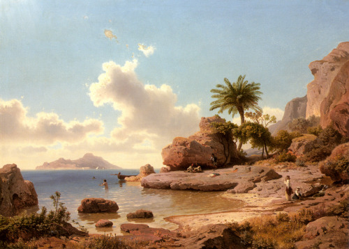 The realism is incredible. missfolly:  Albert Flamm: Bathing at Capri (1850)