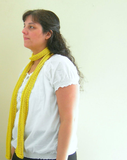 Knit Skinny Scarf in Dandelion Intense Citrus Yellow (via Knit Skinny Scarf in Dandelion Intense Citrus by WindyCityKnits)
