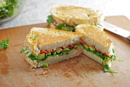 fuckyeahdeliciousfood:  Grilled Cheese with Avocado, Arugula and Roasted Red Pepper  wut.