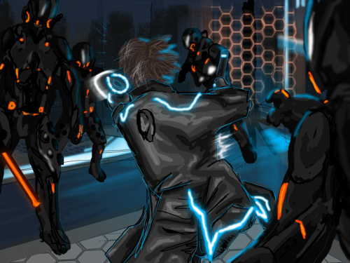 ranoutofrun:  Here is a scene from my (very distant portion) of my Clu1/Tron fic. Baring in mind this was drawn eons ago, with a mouse so I thought it was alright for the time. Whats happening? Clu 1 getting ganked by some blackguard ordered to capture him by his bro.  I still love this.