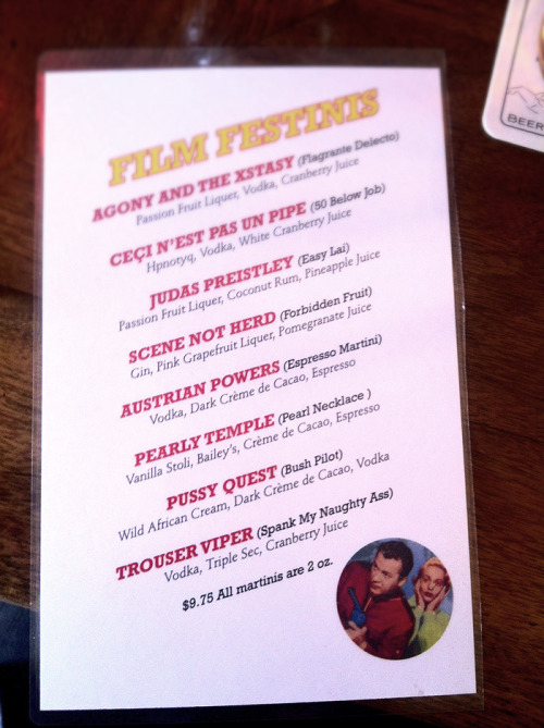 We got a film fest martini named in out honour at Bombay Peggy's in Dawson. B-)