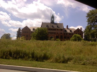 "The first view of the abandoned asylum. This is the administration building, torn down in early spring of 2012 Used for filming in ""Silence of the Lambs"""