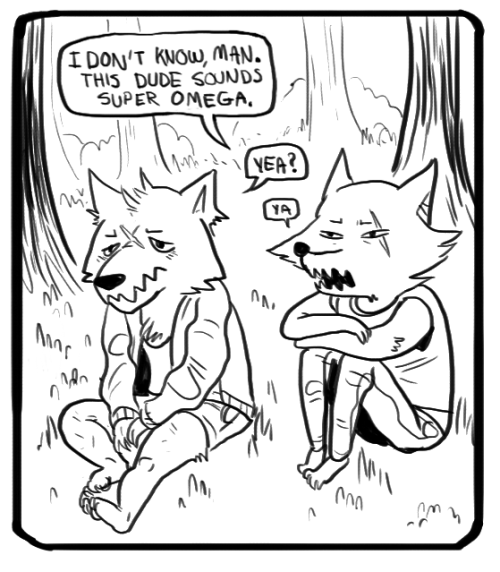 im doodling this short feral wolfgirl shoujo comic because why not. heres a panel. actually i should call it VARG BLARG yea.
