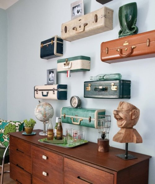 madzteir:  Vintage Luggage Shelves. Click through for a DIY.