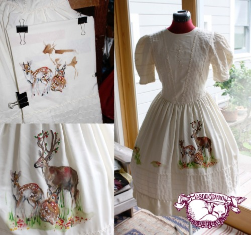 butterscotchbullets:  Altered dress that I painted.  This dress is not for sale but an example of the prints to expect from Maroon Sparrow designs. We are working on a print with fawns.