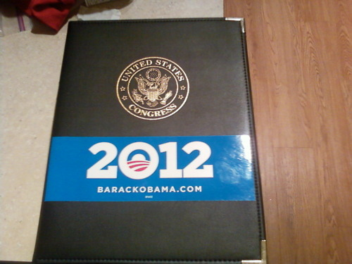 coquettishhope: Where else could my Obama sticker go but my US Congress legal pad holder? :)