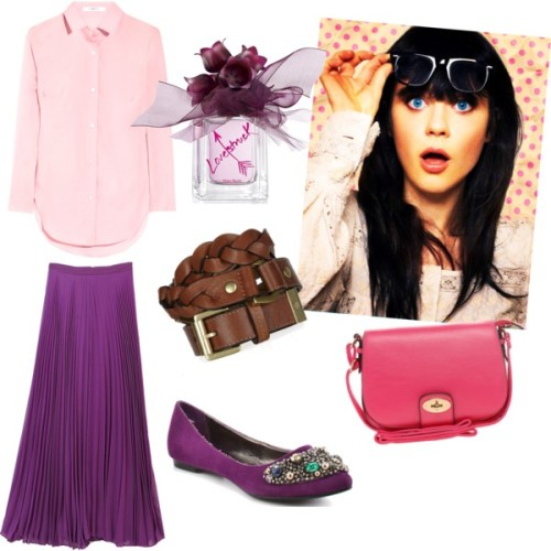 LoveStruck by nabilah85 featuring aldo handbagsCarven poplin shirt, $345Alice Olivia long pleated skirt, £335Naughty Monkey purple flat, $60Aldo handbag, $64Mulberry leather buckle belt, $230Vera Wang fragrance, £62