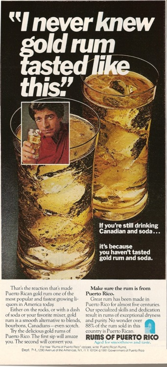 Puerto Rico Rum. Ad from Playboy, January 1982.