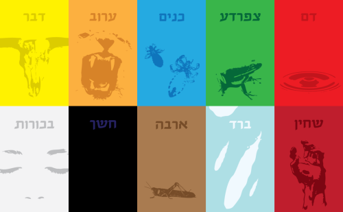 In honor of Pesach/Passover, digital sketches of a planned series of 10 plagues posters. I usually start with basic sketches like these, figuring out color schemes, basic layouts and styles, and roughing out the subject matter. I plan on redrawing most of the imagery in a consistent style, and do something more interesting with the type, though I didn't have time to finish before the holiday, and it could be a while before I get around to it. Chag sameach!