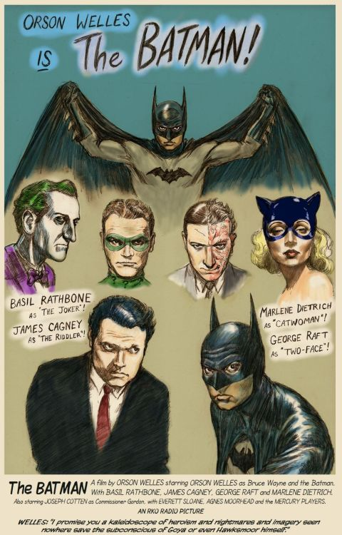 """Orson Welles is The Batman!"" by illustrator Nick Perks"