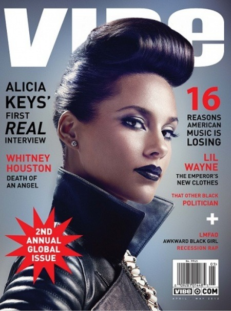 beintheloop:  News: Alicia Keys Covers VIBE cover. Look who's back. Ms. Alicia Keys covers the 2nd annual Global issue of VIBE magazine. The new April/May issue will be hitting newsstands on April 16th.