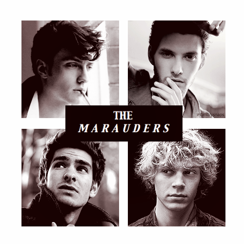 infalliblysnaps:  THE  M A R A U D E R S  ( Dreamcast )  → Aaron Johnson as James Potter→ Ben Barnes as Sirius Black→ Andrew Garfield as Remus Lupin→ Evan Peters as Peter Pettigrew