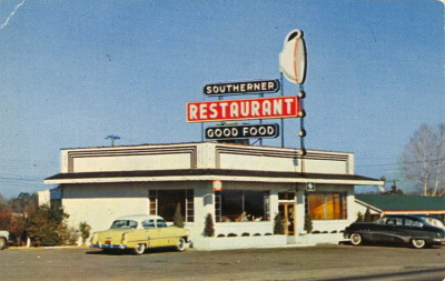 bad-postcards:  SOUTHERNERS ONLY  THE SOUTHERNER RESTAURANTon U.S. 301Elm City, N.C. Open 5 A.M. to 9:30 P.M. Offering Good Food Promptly and Courteously Served.