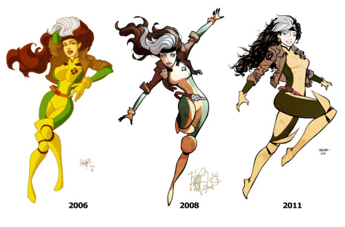 "powerdrain:  comicsforever:  Rogue: Through The Years // artwork by Marcio Takara (2011) Marcio Takara is one hell of an artist that has evolved over the years by leaps and bounds. These are his three takes on Rogue from 2006 to the present, is almost like you had three different artist do a take on the character. I love to see a beloved artist get better at his craft!  Personally I like the second one most, in his ""Tiny"" style, but Mario Takara is still amazing. You can certainly see in the past five or so years he's gotten better at drawing boobs if nothing else, ha.  Fav x-men. Everyone says I remind them of her because of my hair <3"