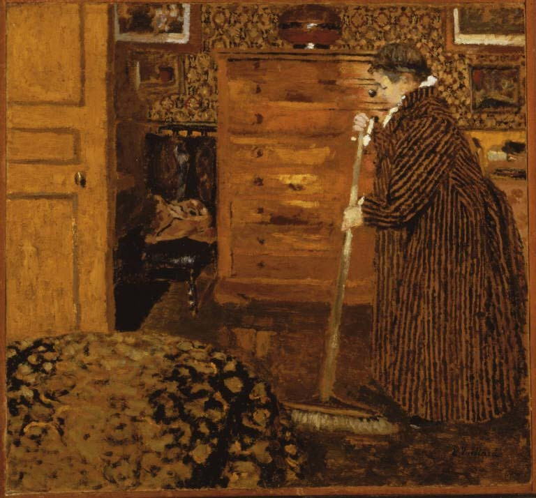 Vuillard, Edouard, Woman Sweeping, 1899-1900, Oil on cardboard; 17 3/8 x 18 5/8 in.; 44.1325 x 47.3075 cm. Acquired 1939. Paintings, 2016, French. On display in House, Main Gallery, South.