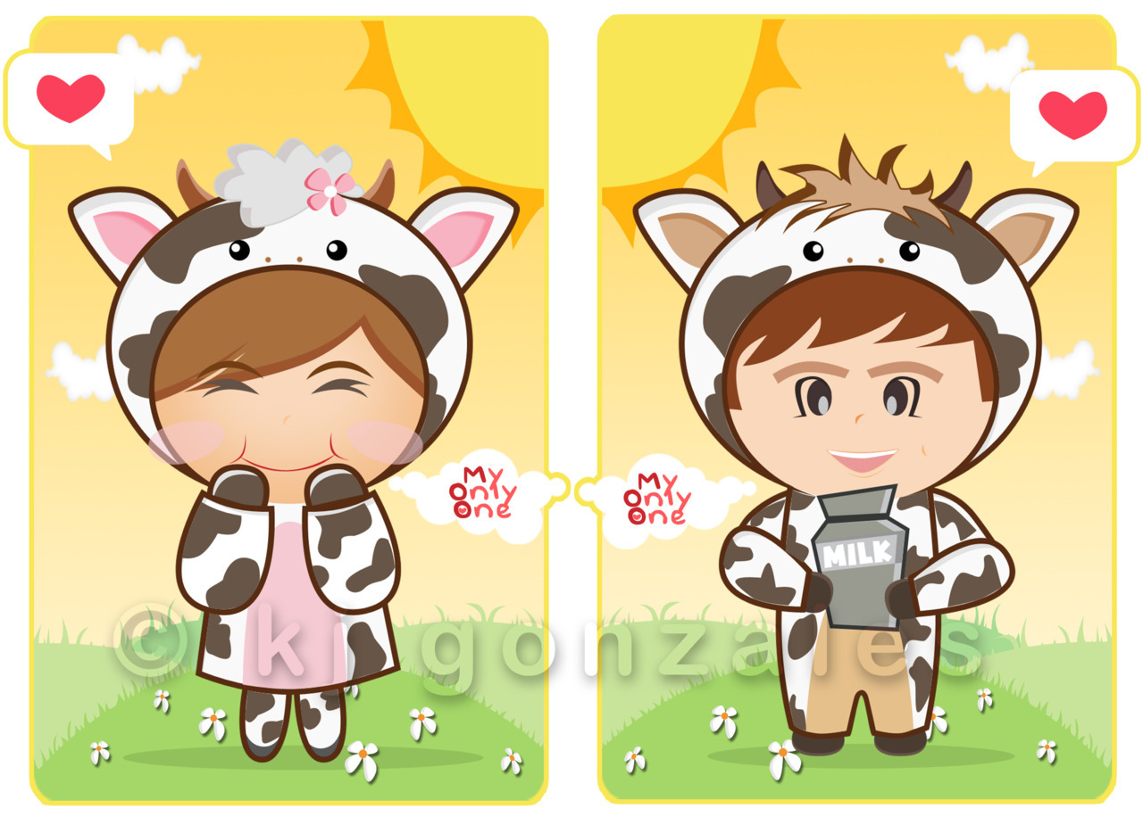 Chibi couple for shirt printing.