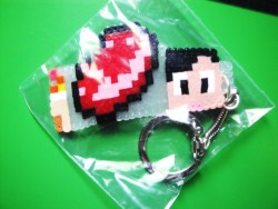8bit keychain. MineCraft keychain made by my brother.