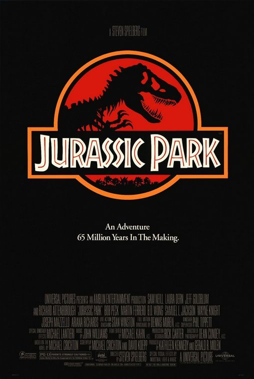 sonofafilmgeek's Top 20 Films of all Time Jurassic Park (1993) Dir. Steven Spielberg  Dr. Grant, my dear Dr. Sattler. Welcome to Jurassic Park  For such a long time, this was my favourite film. I cannot remember how many times I watched and re-watched this when I was growing up. To this day I am still blown away by this film. One of the thing that Spielberg does best is hide the monster of the film, or at the least, delay the reveal of them. I think it's something like 30-45 minutes before the amazing reveal of the dinosaurs and that moment goes down in movie history as one of the greatest moments ever. The slow reveal with John Williams wonderful score playing in the background is, simply, amazing.  There are so many iconic moments in tis film. To name a few, there's the shot of the water cup shaking, the T-Rex chase, Nedry trying to escape and so so many more. Easily one of Spielberg's greatest ever films. Another one of my personal favourite moments is when they all leave the car and the discover the sick Triceratops. That is such a great sequence and the triceratops instantly became my favourite dinosaur. The look on wonder on Alan Grant's face completely sells what is happening.