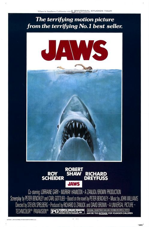 sonofafilmgeek's Top 20 Films of all Time Jaws (1975) Dir. Steven Spielberg  Y'all know me. Know how I earn a livin'. I'll catch this bird for you, but it ain't gonna be easy. Bad fish. Not like going down the pond chasin' bluegills and tommycods. This shark, swallow you whole. Little shakin', little tenderizin', an' down you go. And we gotta do it quick, that'll bring back your tourists, put all your businesses on a payin' basis. But it's not gonna be pleasant. I value my neck a lot more than three thousand bucks, chief. I'll find him for three, but I'll catch him, and kill him, for ten. But you've gotta make up your minds. If you want to stay alive, then ante up. If you want to play it cheap, be on welfare the whole winter. I don't want no volunteers, I don't want no mates, there's just too many captains on this island. $10,000 for me by myself. For that you get the head, the tail, the whole damn thing.   As I said in my post about Jurassic Park, Spielberg is the master of the slow reveal. This is a film about a shark that terrorises a sea-side town and the audience see this killer shark attacking people during the first half of the film, however, we never actually see the whole shark until three quarters of way through the film. This adds so much terror to film and Brody's face when both he and the audience see it for the first time, you can see how terrified he is. For all intents and purposes, this fim should not be nearly as good as it, but somehow, Spielberg somehow manages to elevate this story above the basic plot. Not enough can be said about the three leads. Brody is the straight man, trying to make sure everything gets done, Hooper is the scientist who, despite being a nice guy, is only really there for scientific purposes, and then their is Quint who is the badass ship captain who just wants to capture the shark. Richard Dreyfuss and Robert Shaw famously didn't get on well on set but they work well together on the screen. The scene where they compare scars and Quint tells us what happens on the U.S.S. Indianapolis is one of the greatest scenes ever.